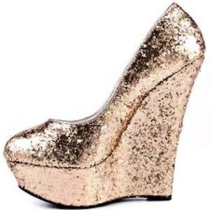 bebe Gold Glitter Wedges